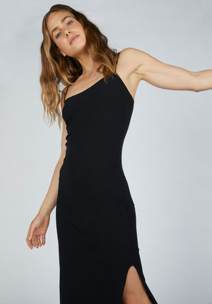 Fine Bind Rib Tank Dress Black
