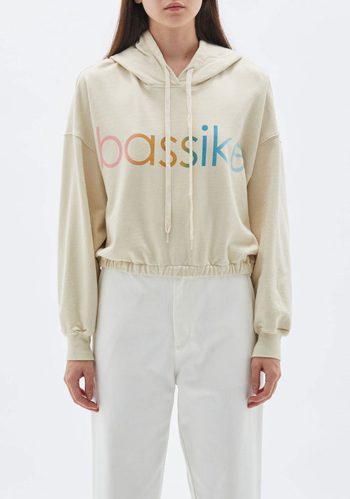 Bassike Gathered Hooded Sweat Linen