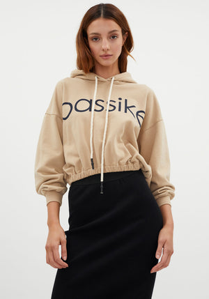 Bassike Gathered Hooded Sweat Tan