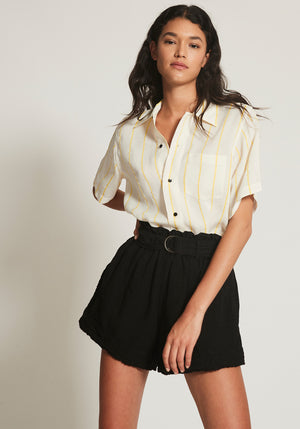 Linen Belted Mini Short Black