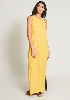 Longerline Slip Dress Bright Yellow/Black