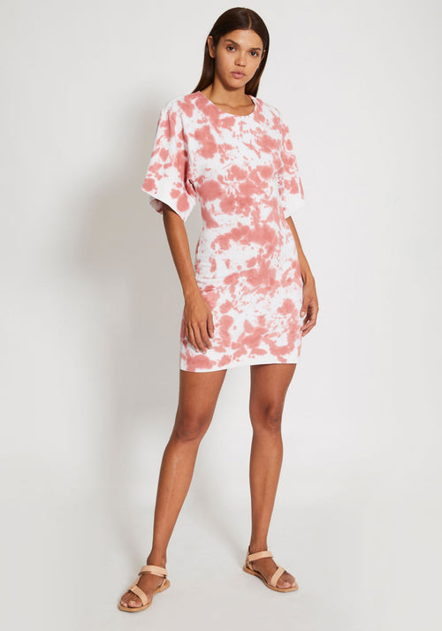Motley Double Jersey Batwing Dress White/Pink