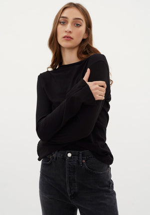 Raised Neck Slim Long sleeve T-shirt Black