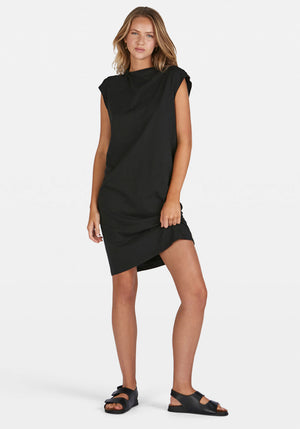 Raised Neck Tank Dress Deep Ink