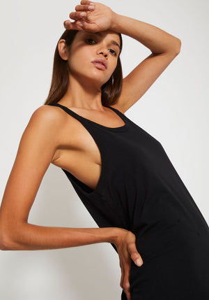Rib Detail Tank Dress Black