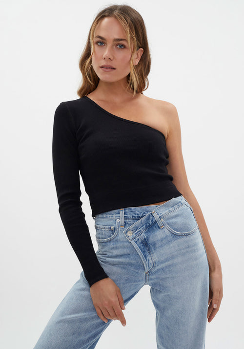 Rib One Shoulder Crop Long Sleeve Top Black