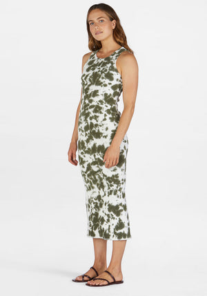 Rib Tank Longerline Dress Olive Leaf Motley