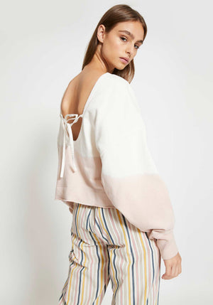 Scoop Back Tie Back Sweat Natural/Pink
