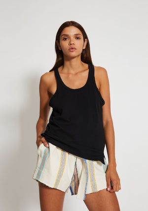 Slouch Athetic Tank Black