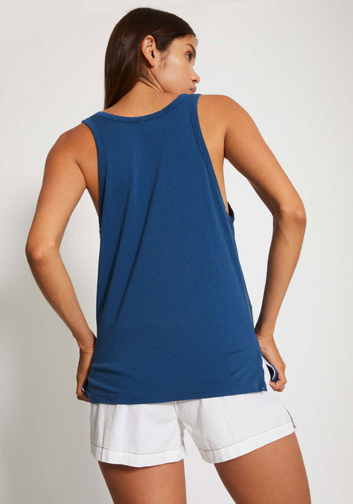 Slouch Athletic Tank Indigo Blue