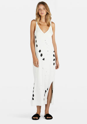 Exclusive | Splatter V Neck Jersey Slip Dress