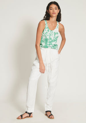 Straight Leg Lined Linen Pant White