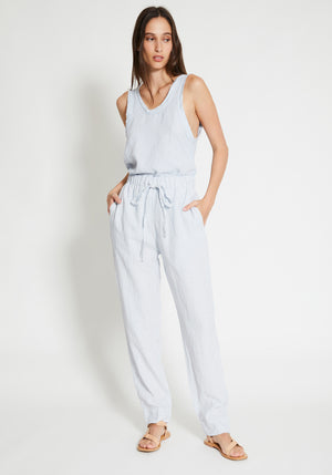Straight Leg Lined Linen Pant Pale Blue