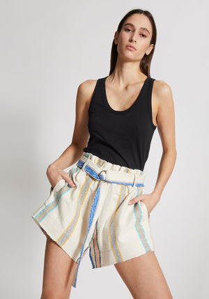 Stripe Belted Mini Short