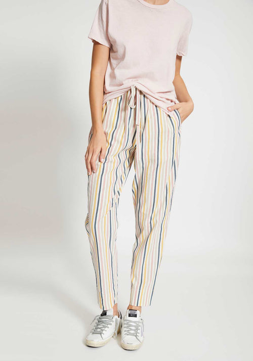 Stripe Cotton Straight Leg Pants Pink/Taupe/Yellow