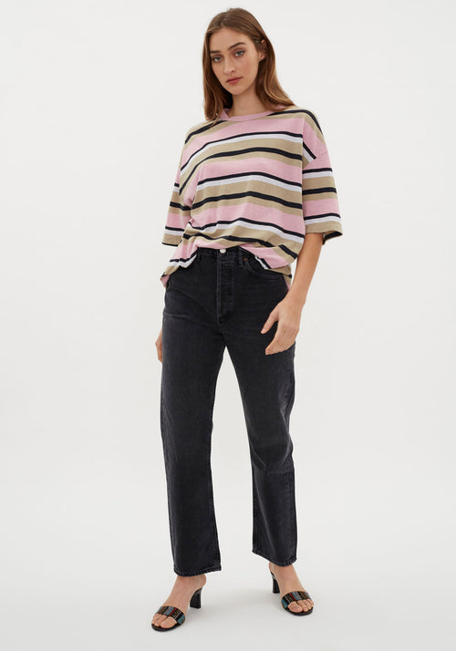 Stripe Wide Heritage Short Sleeve T-Shirt Pink Latte
