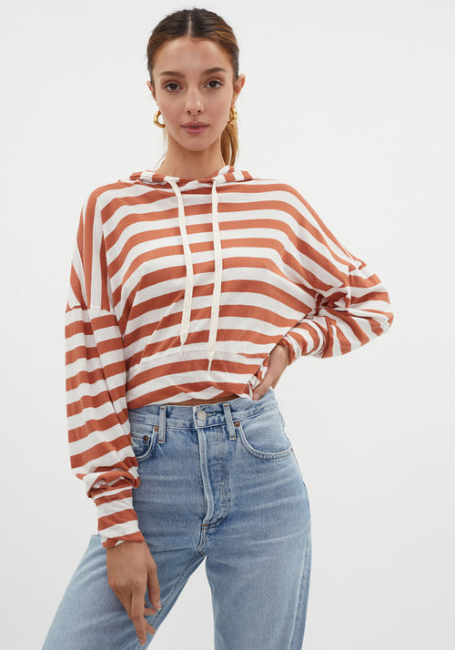 Striped Cropped Hooded Sweat