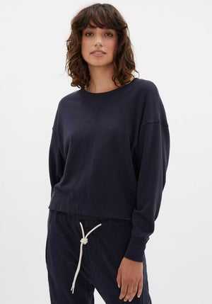 Tie Back Detail French Terry Sweat Navy