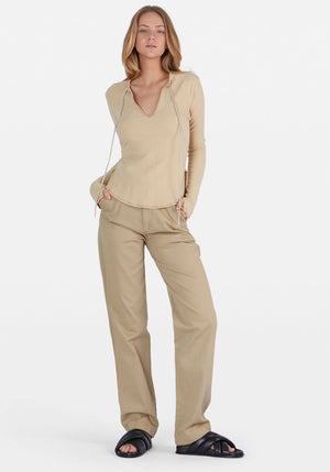 Tie Front Rib Long Sleeve T-Shirt Nutmeg