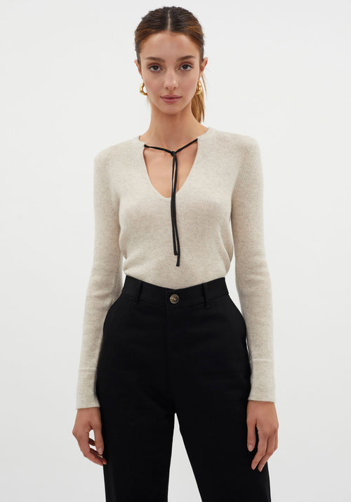 Tie Neck Layering Knit Oatmeal