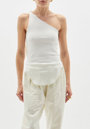 Tie One Shoulder Rib Tank Undyed