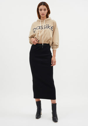 Rib Tubular Skirt Black