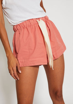 Twill Flared Mini Short Coral
