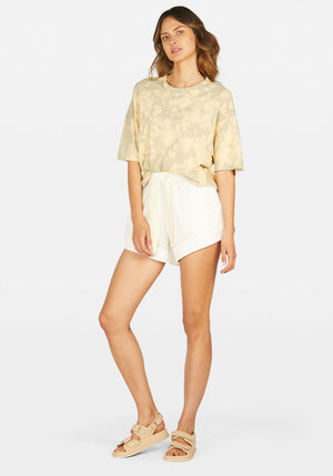 Twill Flared Mini Short White