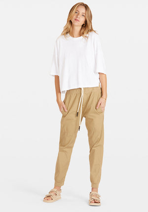 Utility Cotton Jersey Pant Taupe