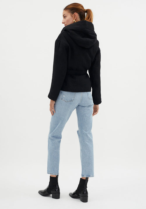 Wadded Hooded Wrap Jacket Black