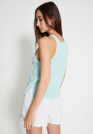Waffle Slouch Athletic Tank Turquoise