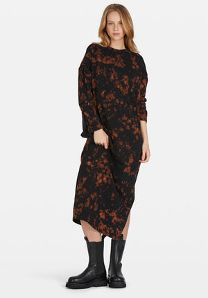 Wide Heritage Long Sleeve T-Shirt Dress Bleach Motley