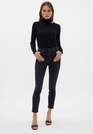 Wool Jersey Cut Out Funnel Neck Black