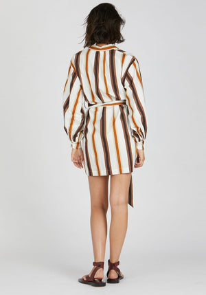 Aubree Dress Brown Nautical Stripe