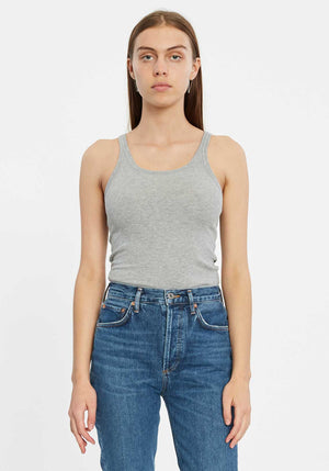 Boyfriend Ribbed Tank Grey