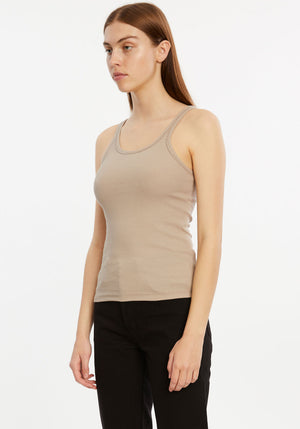 Boyfriend Ribbed Tank Taupe