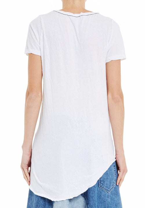 Scoop V-Neck T-Shirt With Tail