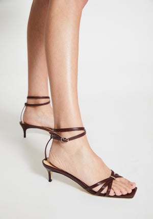 Kaia Leather Heel Bordeaux