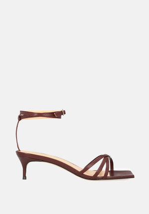 Kaia Leather Heel Bordeaux - By Far - Tuchuzy
