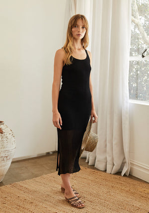 Cassis Irregular Rib Scoop Neck Dress Black