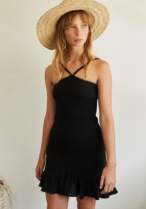 Malibu Shirred Mini Dress Black