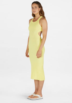 Sideshow Racer Back Rib Dress Lemon