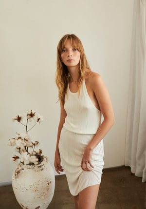 Soleil Summer Knit Halter Dress Ivory