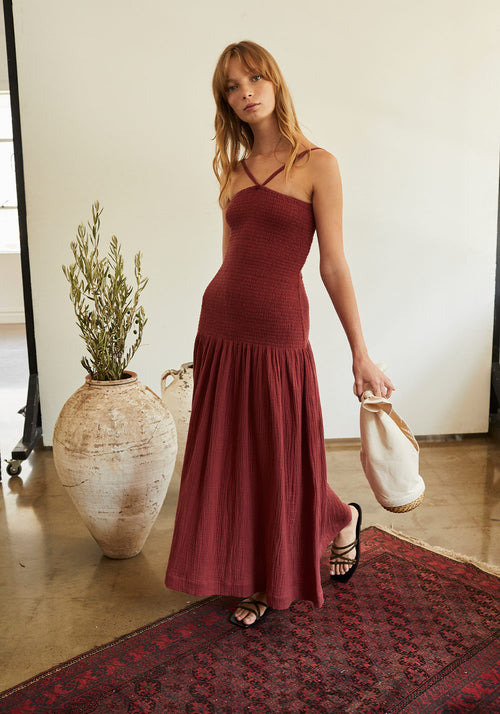 Venice Shirred Midi Dress Berry