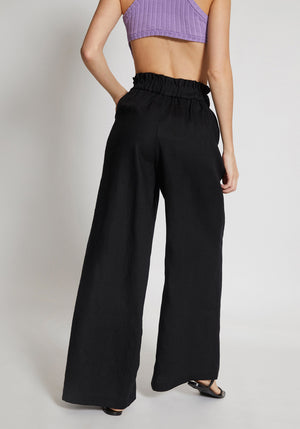 Carousel Linen Pants Black