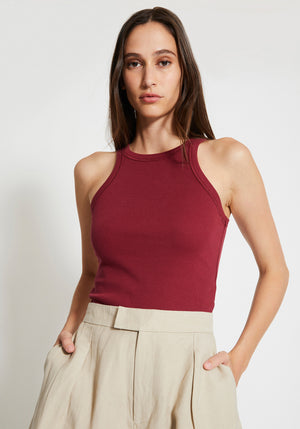 Girlfriend High Neck Singlet Berry