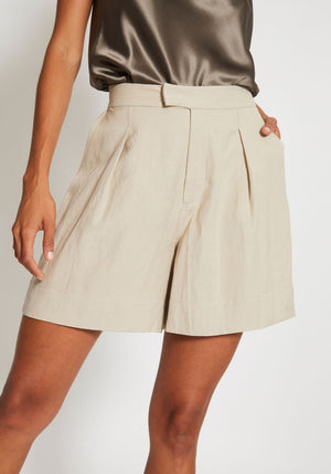 Huntington Crisp Linen Shorts Oat