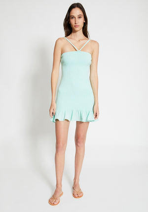 Malibu Shirred Mini Dress Spearmint