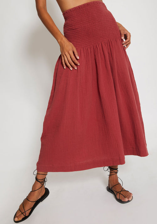 Newport Shirred Skirt Berry