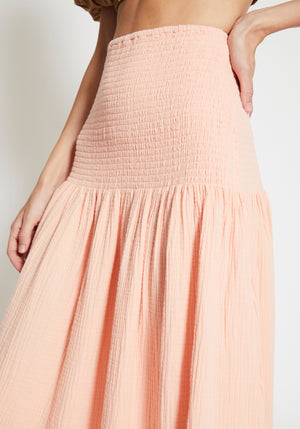 Newport Shirred Skirt Pale Peach